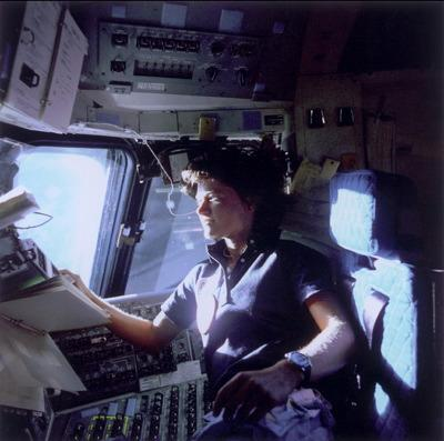 Sally Ride at the shuttle window
