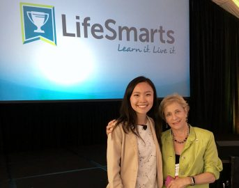 Sally Greenberg (right), executive director of the National Consumers League, invited Kristine Khieu of Tritons for Sally Ride Science to address the national LifeSmarts competition in San Diego.