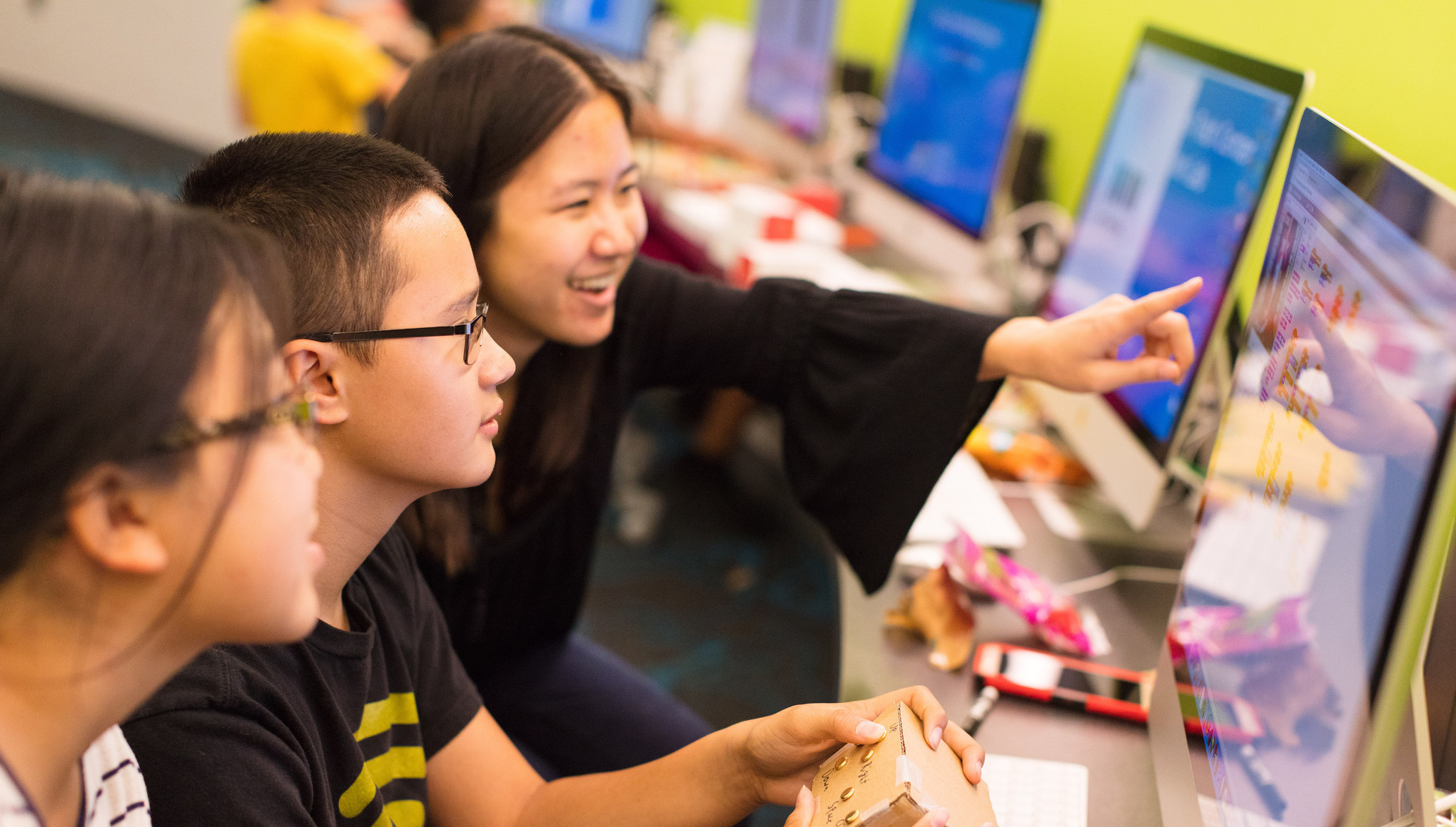 "Junior Academy students explore the medium where science and art collide, using the technology of circuits to create art in the form of music, paintings and photographs in ""Introduction to Circuits using Makey-Makey."" Kevin Andrew Falk/Sally Ride Science"